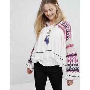 Free People Crochet Dreamland Knit Cardigan Oversized Swingy Sweater Jacket
